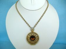 VINTAGE AVON PENDANT NECKLACE-LOCKET WITH BROWN CRYSTAL-LONG GOLD TONED CHAIN