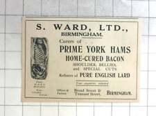 1929 S Ward Ltd Birmingham, Cure Prime York Hams, Bacon