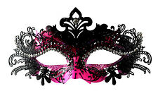 Classy Layer Filigree Masquerade Mask With Clear Rhinestones Pink/Black