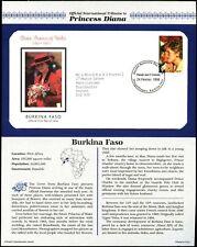 Burkina Faso 1998 Diana Princess of Wales FDC + Info Carte page #V6544