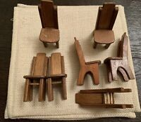 Vintage Miniature Doll House Furniture Wood Dining Room Chairs Set of 7