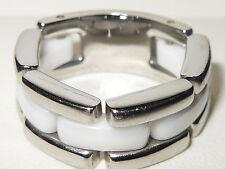 Cerruti Bianco Ceramica & Articolato in Acciaio Inossidabile Cinturino Stile Banda Anello