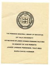 James H Penniman Library 1890s Antique Bookplate Engraving Etching Yale College