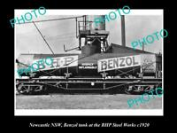 OLD LARGE HISTORICAL PHOTO OF THE BHP STEEL WORKS BENZOL TANK, NEWCASTLE c1920