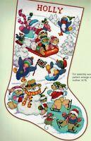 🎄 Fun Penguins Bears Ice Skating Sledding Christmas Stocking Cross Stitch Chart