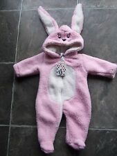 BNWT Baby Girl's Pink & White Fluffy Bunny Hooded Coverall/Romper Size 000