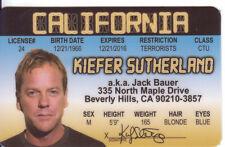 Keifer Sutherland novelty I D card Drivers License kiefer 24 Designated Survivor