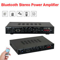 220V Audio HiFi Bluetooth Amplifier Surround SD Stereo Fit Theater Karaoke Home