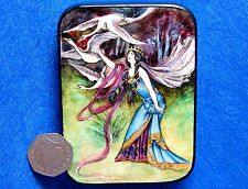 Russian SMALL HAND PAINTED LACQUER SHELL Box Warwick Goble WILD SWANS Evil Queen