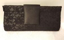 Black Satin and Floral Lace Clutch Bag