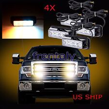 4X 4 LED Car Truck Emergency Beacon Light Bar Hazard Strobe Warning White Amber