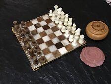 Mid Century Modern Chess Set Regency Styled Brown Creme Onyx BrassBoard & Pieces