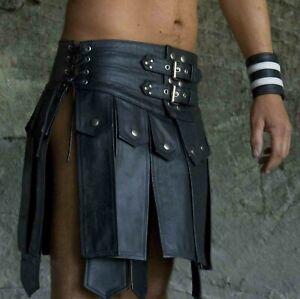 Men's Real Leather Gladiator Kilt Club wear Kilt FREE LEATHER WRIST BANDS PAIR