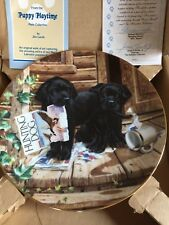 """Puppy Playtime Plate Collection by Jim Lamb """"Cabin Fever� with Coa"""