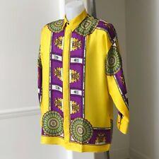 GIANNI VERSACE yellow silk shirt Cornice II print size IT 50 from fw 1991/92