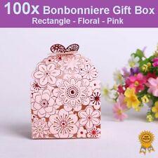 100x Floral Laser Cut Wedding Bonbonniere Bomboniere Candy Gift Boxes - Pink