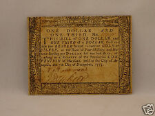 Fine 240 yr old CONTINENTAL CURRENCY $1 & 1/3 Dollars, 1775 MARYLAND Scarce Note