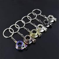 Auto Keychain Sound Keyfob Car Whistle Chain Turbo Spinning Turbine Key Ring