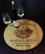 Vineyard Tray - Personalized Wood Quarter Barrel Lazy Susan, Home or Bar