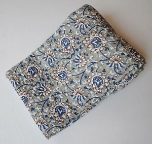 Beautiful Leafy Print Ethinic Kantha Quilt New Cotton Twin Size Blanket Bedding