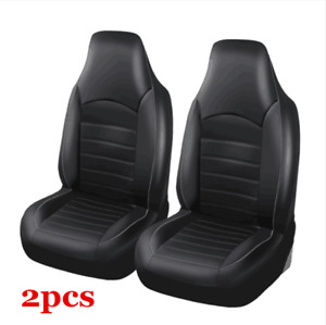 2x PU Leather Car Seat Cover Protector Cushion Black&Gray Front Cover Universal
