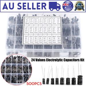 500PCS Electrolytic Capacitor Assortment Box Kit 24 Values Range 0.1UF-1000UF