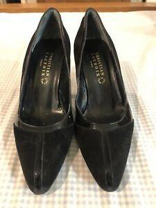 Christian Lacroix Black Patent Suede Pointed Toe Pumps Heels Shoes Size 6/36