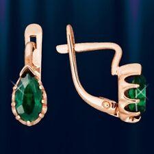 Rose Rotgold 585 Kinder-Ohrringe mit  grünem CZ Tropfen Kids earrings!