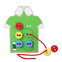 Kids Baby Educational Wooden Toy Sewing Threading Button Beads Lacing Board HGUK