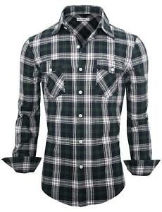 Men's Casual Slim Fit Check Shirt Long Sleeve Luxury Formal Dress Shirt Tops