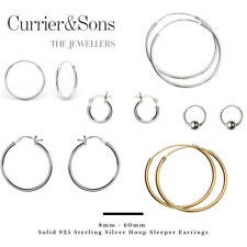 Solid 925 Sterling Silver 8mm - 60mm Hoop Sleeper Earrings (Pairs)