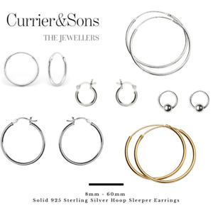 Solid 925 Sterling Silver 8mm - 60mm Hoop Sleeper Earrings (Pairs)