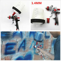 Vehicle Feed Paint Airbrush Tank HVLP Spray Gun Tool w/1.4mm Nozzle Adapter Red