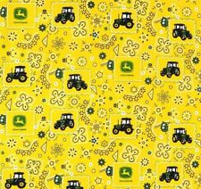 John Deere Bandana Tractor 56033 Yellow Flowers 100% cotton Fabric by the yard