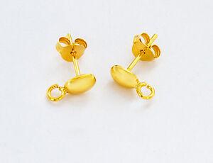 24k Vermeil  2 Pairs of Oval Earrings Post with opened loop 4x6 mm.