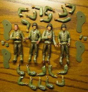 21st Century Toys Soldiers Lot Of 4 American Soldier Figs W/ Stands & Xtra Hands