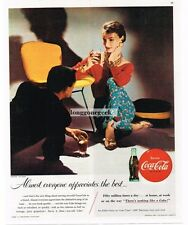 1955 COCA-COLA COke Man & Woman Sitting by Wire-Frame Chair Vtg Print Ad