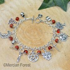 Wiccan Charm Bracelet with Red Jasper - Pagan Jewellery, Wicca, Witch, Pentacle,