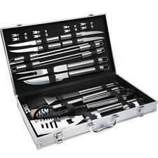 Set kit accessori griglia barbecue BBQ 25 pezzi attrezzi utensili con valigetta