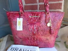 NWT BRAHMIN MEDIUM ASHER PETUNIA MELBOURNE CROCO EMBOS LEATHER TOTE BAG
