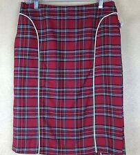 Folter Sexy Red Plaid Pencil Skirt Exposed Zipper White Pipeing Sz L Never Worn