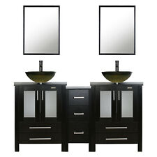"60"" Black Bathroom Vanity Vessel Sink Small Cabinet Set Glass Faucet Combo"