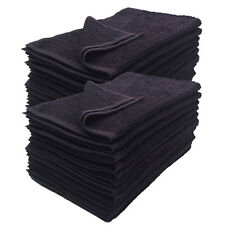 12-Pack Black 16x27 inches Cotton Salon Towels Soft Absorbent Quick Dry Gym spa