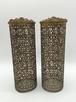 SET OF 2~ GOLD FILIGREE HAIR SPRAY CAN COVER VINTAGE ROMANTIC HOLLYWOOD REGENCY