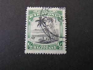 COOK ISLANDS. SCOTT # 61, 1/2p VALUE GREEN & BLACK 1920 LANDING OF COOK USED