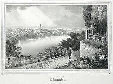Chemnitz-vista general-Saxonia-litografía 1836