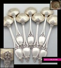 SOUFFLOT ANTIQUE 1890s FRENCH STERLING SILVER & VERMEIL ICE CREAM SPOONS SET 7pc