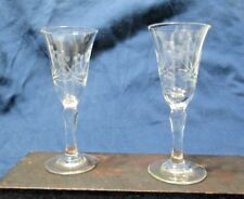 Elegant Vintage Etched Flowered Glass Cordials - Lot of 2