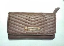 Nicole Miller Tri-fold Wallet Brown w/gold tone accents and leopard lining EC