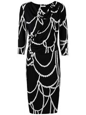 Stunning Precis Pearl Beaded Print Evening Occasion Day Dress Size 12